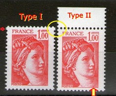 N° 1972**_type 1 Et 2_type 1 Plus Grand_2 Nuances De Rouge - 1977-81 Sabine Of Gandon