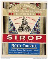 - FRANCE - ETIQUETTE GRANDE FABRIQUE DE BOISSONS GAZEUSES & SIROPS MOTTE-TOURTEL - MARSEILLE - - Labels
