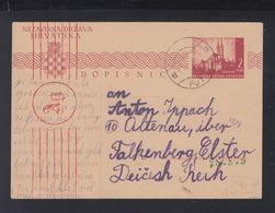 Kroatien Croatia Besetzung Serbien Serbia GSK 1944 Putinci Nach Deutschland Zensur - Kroatië