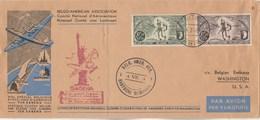 Lettre Vol Spécial Belgique Etats Unis Par SABENA Cachet Belg. Amer. Ass. Bastogne Memorial 4/7/1946 - Poste Aérienne