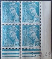 R1947/201 - 1942 - TYPE MERCURE - BLOC N°538 TIMBRES NEUFS** CdF Daté - Coins Datés