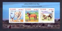 Tunisia/Tunisie 2019 - Minisheet - Fauna - Animals In Danger Of Extinction : Pony Of Mogod, Addax & Oryx - MNH** - Tunisie (1956-...)