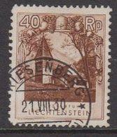"""Liechtenstein 1930 Freimarke 40Rp St. Mamertus Kapelle  Used  """"Triesenberg 21 VIII 30"""" (42829C) - Liechtenstein"""