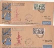 2 Lettres Vol Spécial Belgique Etats Unis Par SABENA Cachet Belg. Amer. Ass. Bastogne Memorial 4/7/1946 - Poste Aérienne