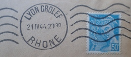 R1947/202 - 1944 - TYPE MERCURE N°538 Seul Sur ✉️ De LYON à NICE - France