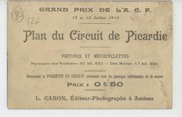 AMIENS - COURSE AUTOMOBILE ET MOTOS - GRAND PRIX DE L'A.C.F. 1913 - PLAN DU CIRCUIT DE PICARDIE - Carte Double- LONGUEAU - Amiens
