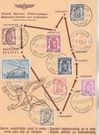 Belgique 1 Er Service Postal Par Hélicoptère SABENA 1950 Bruxelles Libramont Liège Voir Description - Poste Aérienne