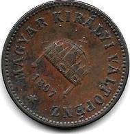 $hungary 2 Filler 1897 Km 481 Vf - Hungría