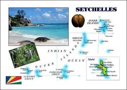 Seychelles Islands Country Map New Postcard Seychellen Landkarte AK - Seychellen
