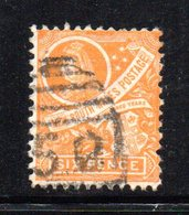 APR1204 - NEW SOUTH WALES GALLES 1899 , Yvert N. 83 Arancio Usato . Fil NSW  INVERTED - Usati