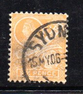 APR1205 - NEW SOUTH WALES GALLES 1899 , Yvert N. 83 Giallo Arancio Usato . Fil NSW  INVERTED - Usati