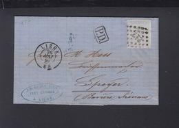 Belgien Faltbrief 1869 Liege Nach Speyer - 1865-1866 Profiel Links