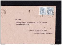 SBZ: Fern-Brief LEIPZIG N22 Vom 24.6.48-10-11 MWSt Brfkasten-Erstleerung Z.Reichspostporto Waager.Paar 12Pf Knr:947(2)ZF - Zone Soviétique