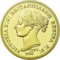 United Kingdom , Médaille, Reproduction De La 5 Pounds Or Victoria, FDC, Copper - Altri