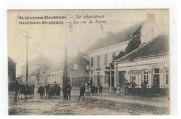 St-Lievens-Hautem De Schoolstraat  - Hauthem-St-Lievin  La Rue De L'école 1906 - Sint-Lievens-Houtem