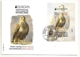 MACEDONIA NORTH,MAZEDONIEN, 2019, EUROPA CEPT,NATIONAL BIRDS,VOGEL,BUTEO RUFINUS,BLOCK,,FDC - Macedonia