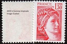France Sabine De Gandon N° 2059 B ** Le  1.30 Fr. Rouge - Gomme Tropicale - 1977-81 Sabine Of Gandon