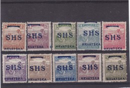 # Z.9836 Error ! Croatia 1918 Occupation Hungarian Full Set Overprint SHS, MLH, MNH, 1 Error = Misplaced - Harvester - Croatie