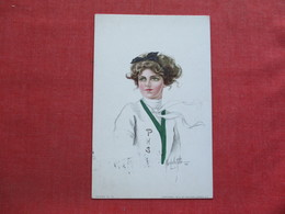 Signed Artist  Beautiful Girl With PHS On Sweater   Ref 3375 - Fashion