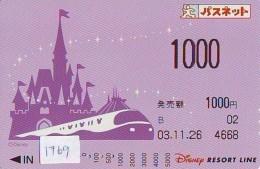 Carte Prépayée Japon - DISNEY RESORT LINE (1769) TRAIN * ADULT  1000 Yens * Japan Prepaid Card - Disney