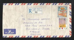 Kuwait Registered Air Mail Postal Used Cover Kuwait To Pakistan University - Kuwait