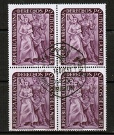 ARGENTINA  Scott # 598 VF USED BLOCK Of 4 W/FIRST DAY CANCEL (LG-1103) - Used Stamps