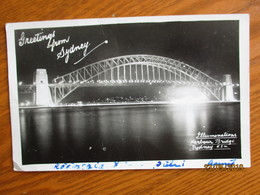 AUSTRALIA SYDNEY ILLUMINATIONS HARBOUR BRIDGE  , OLD POSTCARD    , 0 - Sydney