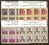 1961 Spagna Spain ARTE ROMANICA  ROMAN ART 8 Serie Di 4v. MNH** (1038/41) In Blocco - 1931-Oggi: 2. Rep. - ... Juan Carlos I