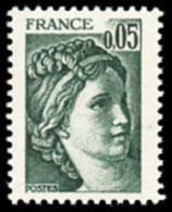 France Sabine De Gandon N° 1964,a ** Le 0.05fr  Vert Noir - Variété Gomme Tropicale - 1977-81 Sabine (Gandon)