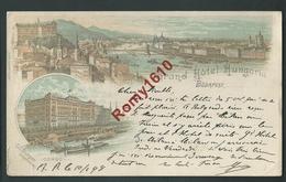 Hongrie. Budapest. Grand Hôtel Hungaria, Corso. Litho Multivues Voyagée En 1898. 2 Scans. - Hongrie