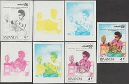 Rwanda 1987 COB 1293. 7 Essais De Couleurs. Unicef, Survie De L'enfant. Allaitement Maternel, Sein Et Enfant, Lait - Enfance & Jeunesse