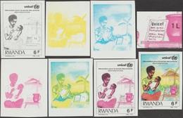 Rwanda 1987 COB 1294. 7 Essais De Couleurs. Unicef, Survie De L'enfant. Sels De Réhydratation, Sel - Other