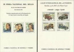 1976 1977 Spagna Spain 2 FOGLIETTI RICORDO Automobili + Juan Carlos MNH** 2 Souvenir Sheets - Fogli Ricordo