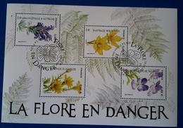 FRANCE 2019 Bloc Sur Les Fleurs En Voie De Disparition Oblitération 1er Jour 1 De Paris + 1 De La Réunion - Blocs & Feuillets
