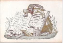 """BRUSSEL,BRUXELLES""""VERRASSEL HARVET-LIBRAIRIE-BOEKHANDEL""""LITHO DAVELUY,BRUGGE-148/100 MM - Porcelaine"""