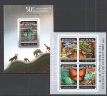 ST779 2014 GUINEE GUINEA FAUNA 50TH ANNIVERSARY CREATION RED LIST UICN 1KB+1BL MNH - Timbres