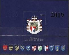 LIECHTENSTEIN, 2019, MNH, COAT OF ARMS, EMBOSSED S/SHEET - Stamps