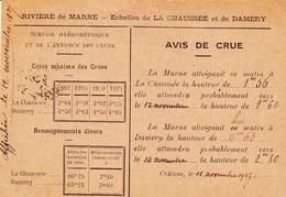 PONTS Et CHAUSSEES - Avis De CRUE De La Marne, Echelles De LA CHAUSSEE Et DAMERY, Adressé Au Maire De DIZY (51) - Floods