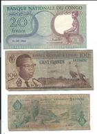 Congo Lot De 3 Billets Ayant Circulés - Congo