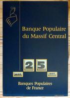 Ancien Et Beau Calendrier Perpétuel En Verre : COQ De La Banque Populaire Du Massif Central 1969 Or & Bleu - Calendriers