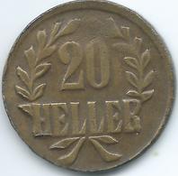 German East Africa - 1916 T - Wilhelm II - 20 Heller - Tabora Emergency - KM15a - Brass - Small Crown - East Germany Africa