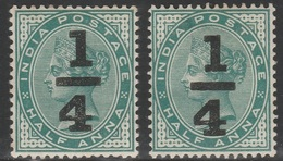 British India 1898 - SG 110, 1/4a On 1/2a - QUEEN VICTORIA, QV - MLH X 2 Stamps - 1882-1901 Empire