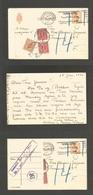 DENMARK. 1945 (15 Jan) Kopenhagen Local 7 Ore Orange Stationary Card + Invalid + Taxed By 3 P. Dues, Tied Fine Cards + A - Danemark