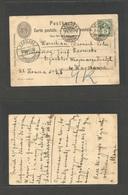 Switzerland - Stationery. 1905 (3 Oct) Zurich - Poland, Warsaw (20 Sept) Russian Period. 5c Black Stat Card + 5c Green A - Switzerland