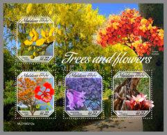 MALDIVES 2019 MNH Trees + Flowers Bäume + Blumen Arbres + Fleurs M/S - OFFICIAL ISSUE - DH1921 - Arbres