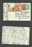 BULGARIA. 1923 (26 Nov) Sofia - Germany, Altenburg Sachsen. (3 Oct) Multifkd Stat Card. Fine. - Bulgaria