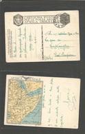 ETHIOPIA. 1936 (10 Oct) Italian Colonies. Addis Abeba- Italy. FM+ Military Color Map Ppc. Fine Item. - Ethiopia