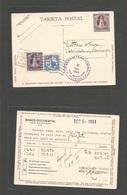 SALVADOR, EL. 1934 (6-12 Dec) S. Salvador - Swizerland, Herisan. 1c Lilac Stat Card + 2 Adtls, Slogan Café Advert Cachet - El Salvador
