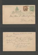 PHILIPPINES. 1927 (18 Oct) Baguio - Netherlands, Uden N. BR. 2c Green Stat Card + 8c Adtl, Cds. Fine. - Philippines