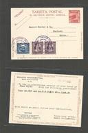 SALVADOR, EL. 1933 (25 July) S. Salvador - Switzerland, Herisau. 2c Red Stat Card + 3 Adtls Lilac Cds. VF. - El Salvador